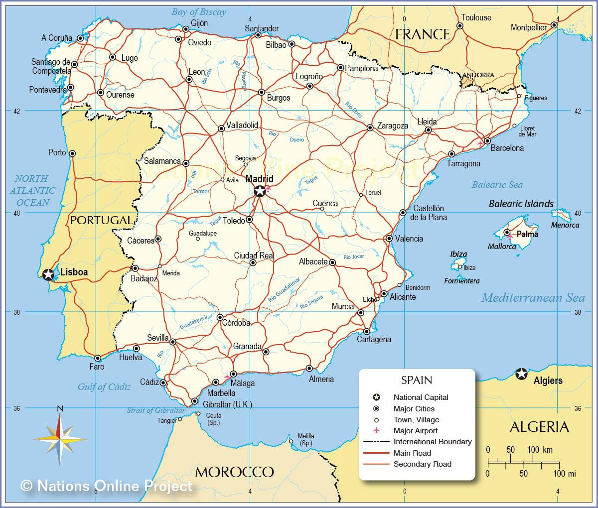 Spanija Biciklizma Mapu Mapa Je Iz Spanije Biciklizma Juznoj