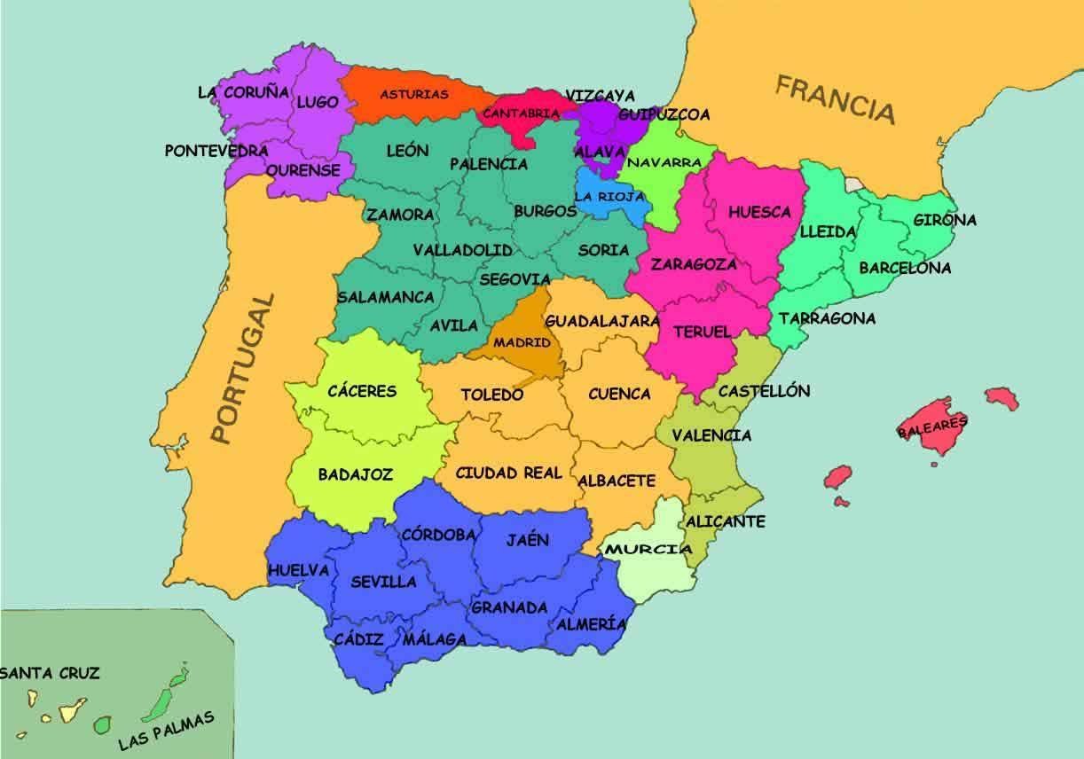 Spanija Drzave Mapu Mapa Je Iz Spanije Drzava Juznoj Europi