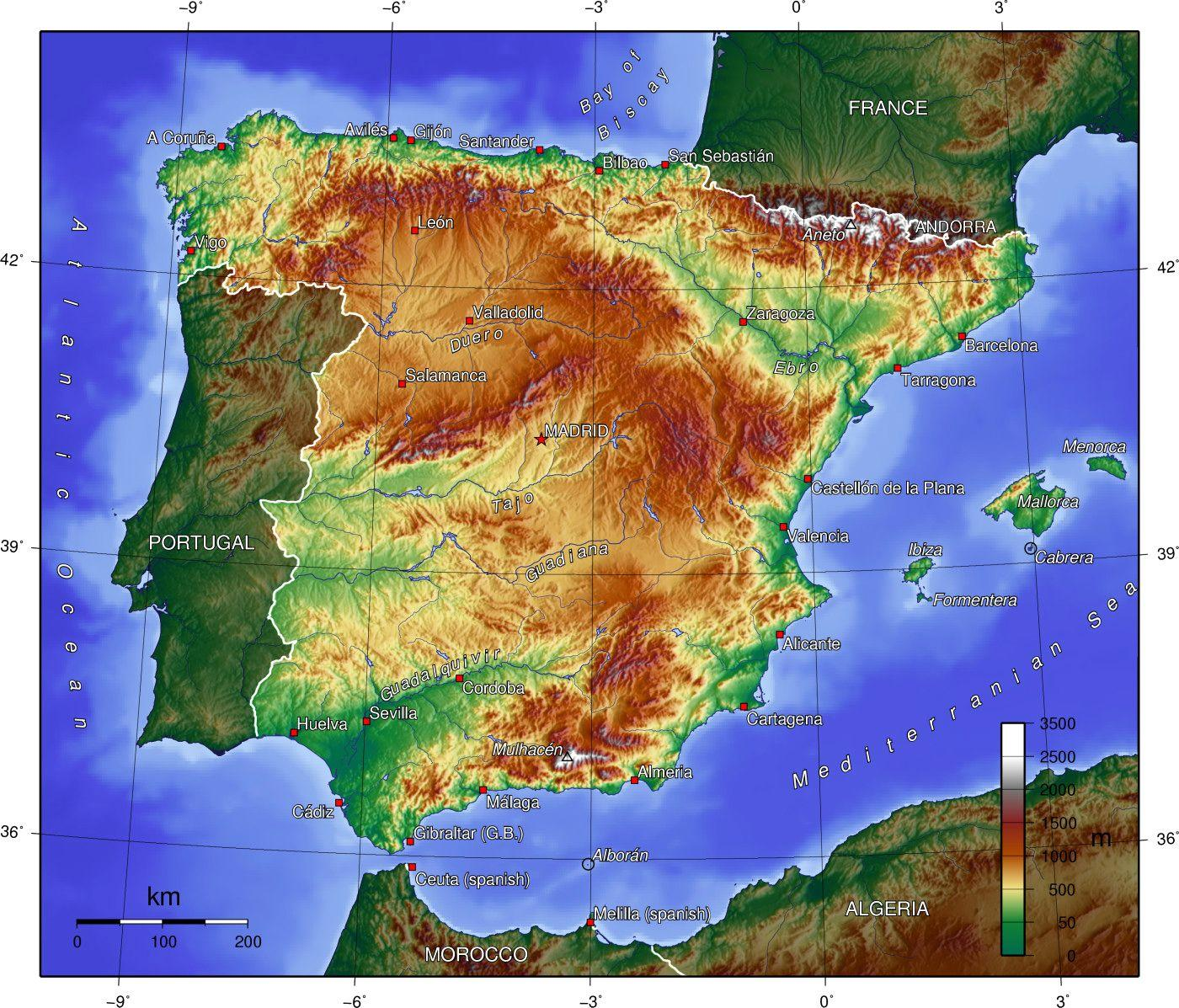 spanija mapa Španija geografiju mapu   Mapa je iz Španije geografije (Južnoj  spanija mapa