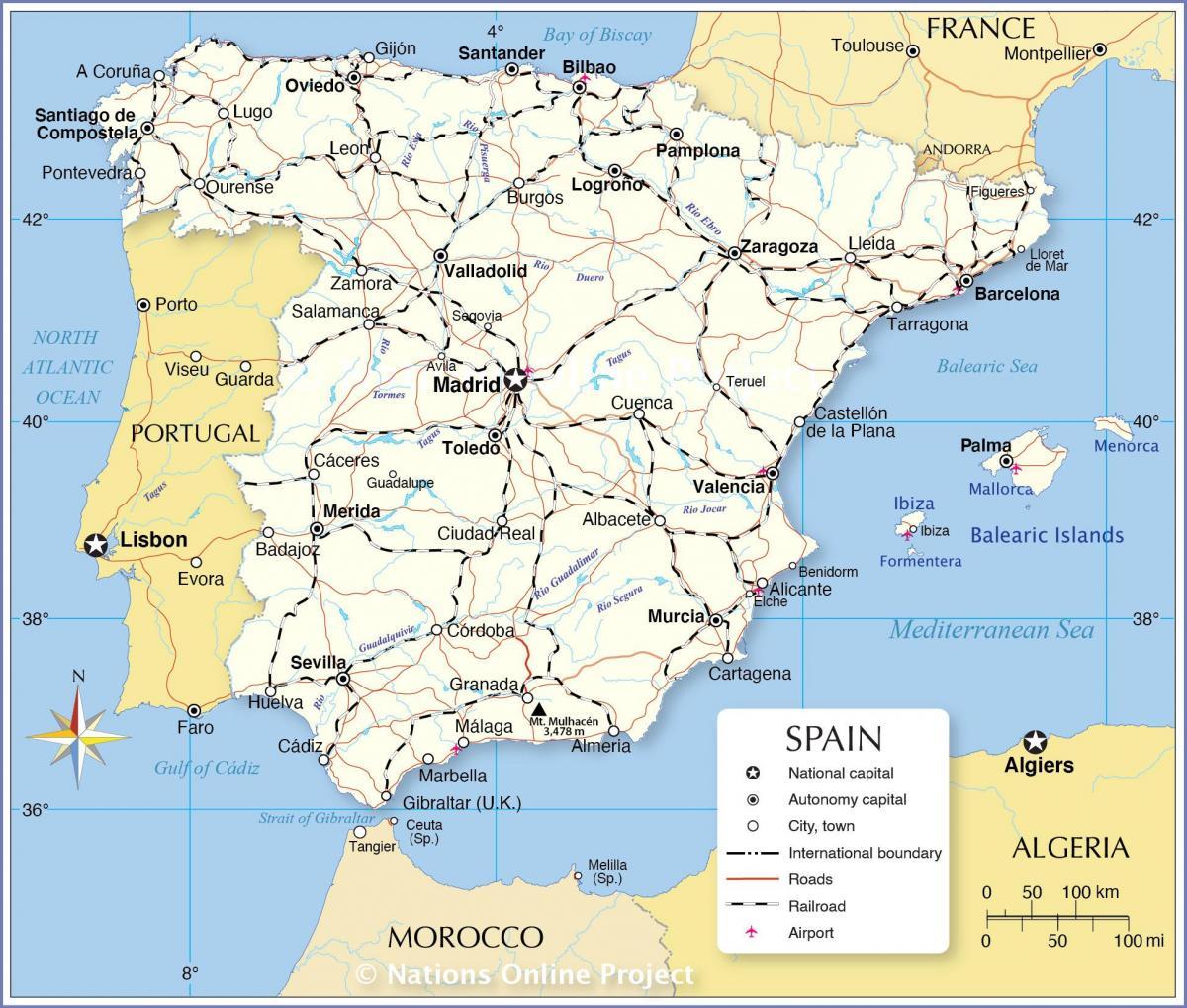Spanija Mapu Mapa Pokazuje Spaniji Juznoj Europi Evropi