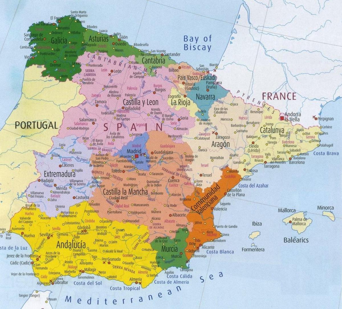 mapa spanije Mapa je iz Španije i okoline   Mapa oko Španiji (Južnoj Europi  mapa spanije