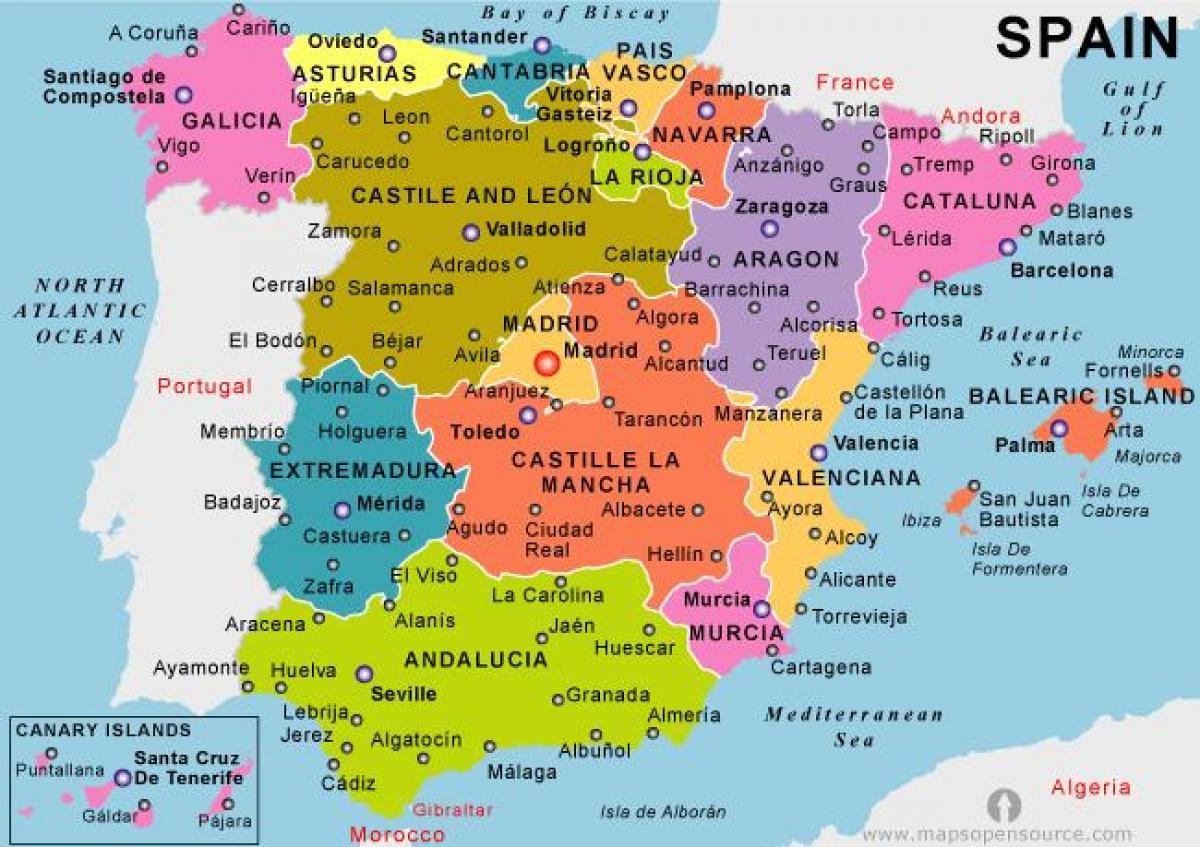 Mapa Je Iz Spanije Praznik Odmaralista Mapu Za Kopno Spaniji