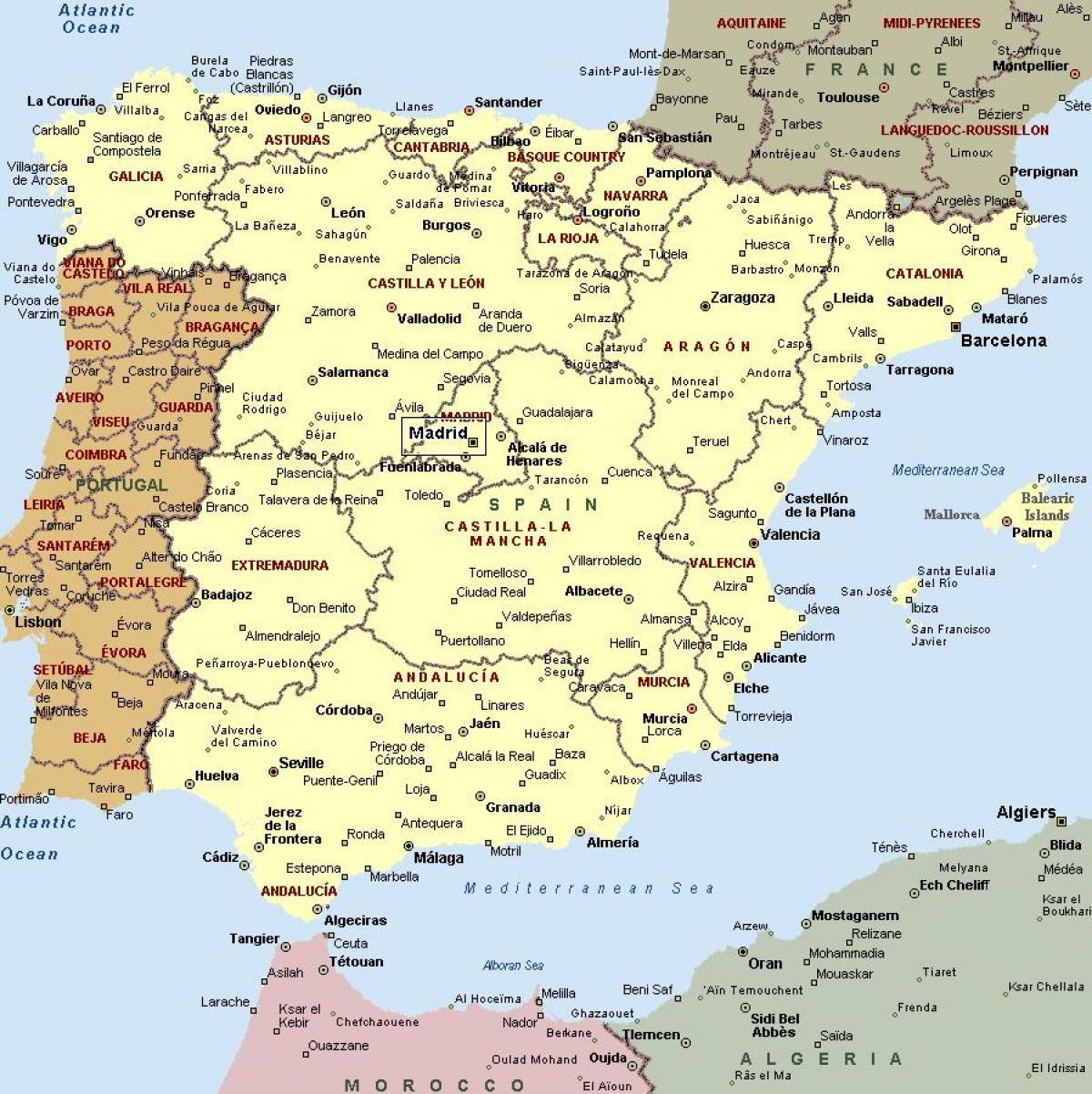 Mapa Je Iz Spanije Sa Gradovima Mapa Je Iz Spanije I Gradova