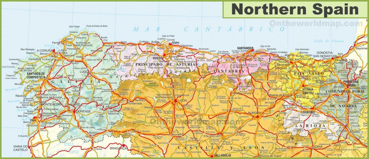 Mapa Na Sjeveru Spaniji Karta Na Sjeveru Spaniji Sa Gradovima