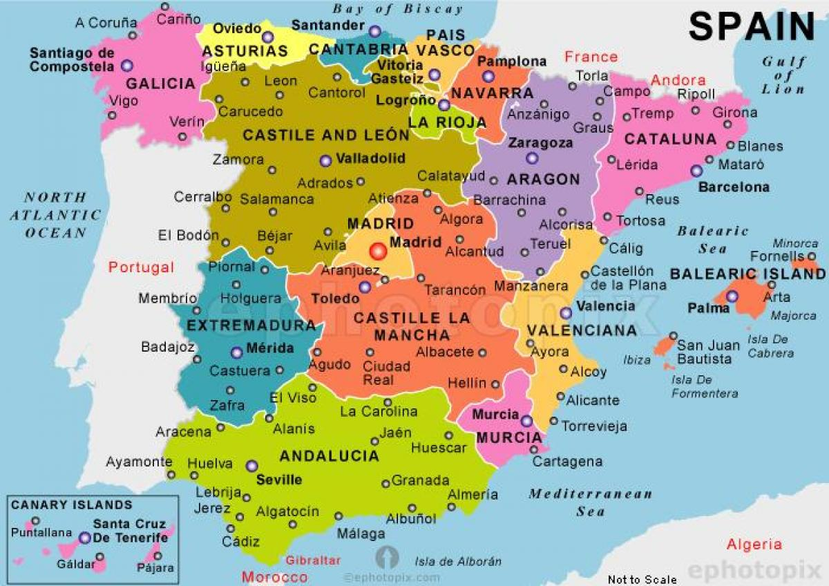 mapa spanije Karta iz Španije   Najbolja karta iz Španije (Južnoj Europi   Evropi) mapa spanije