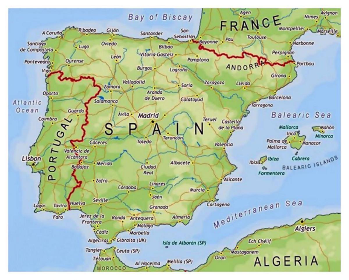 karta spanije Oblasti Španiji mapu   Mali mapu Španije (Južnoj Europi   Evropi) karta spanije